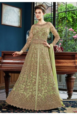 Light green net embroidered long choli lehenga  4533