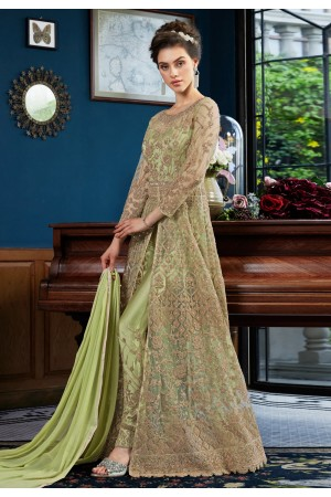 Light green satin embroidered pant style suit  4533A