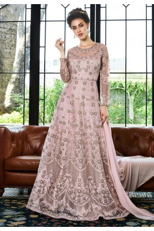 Pink net embroidered abaya style anarkali suit  4535