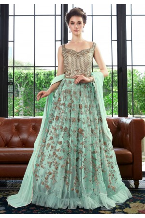 Sea green net embroidered floor length anarkali suit  4531