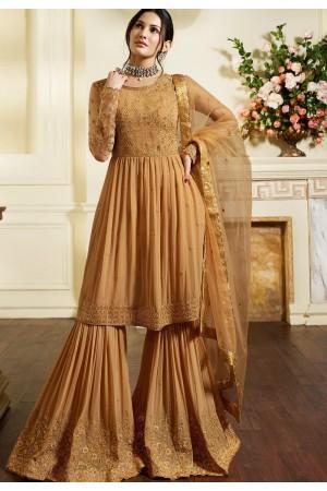 beige satin georgette embroidered sharara style pakistani suit 4054