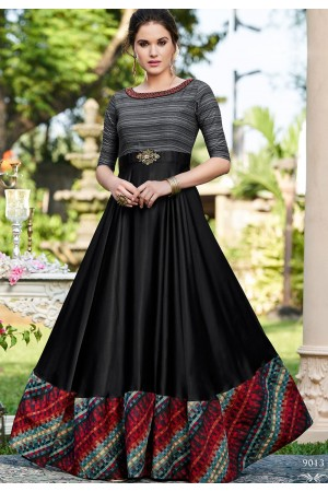 black cotton satin digital printed floor length gown 9013