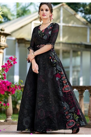 black organza party wear printed long gown 9001