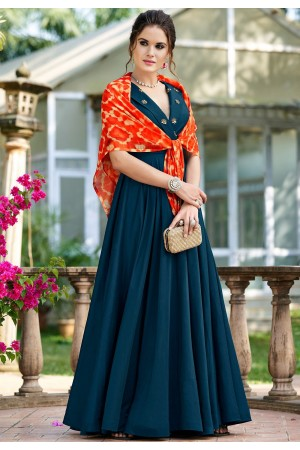 blue silk party wear long gown 9004