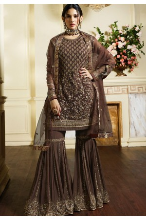brown satin georgette embroidered sharara style pakistani suit 4050