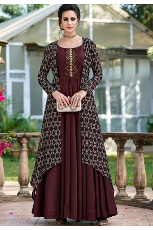 brown shade silk digital printed jacket style long gown 9011