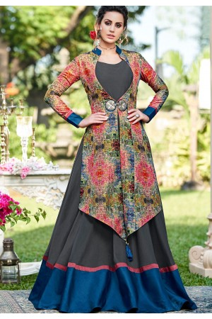 grey blue silk digital printed jacket style gown 9009