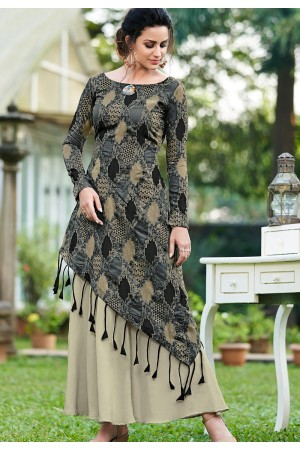 grey silk digital printed long gown 9006