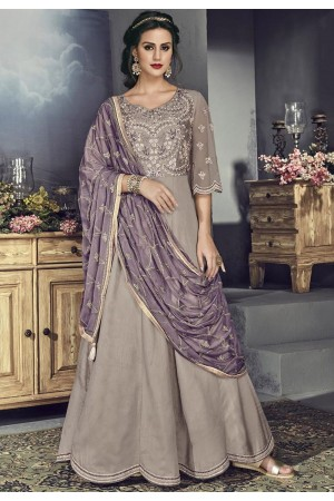 grey tussar silk embroidered long anarkali suit 706
