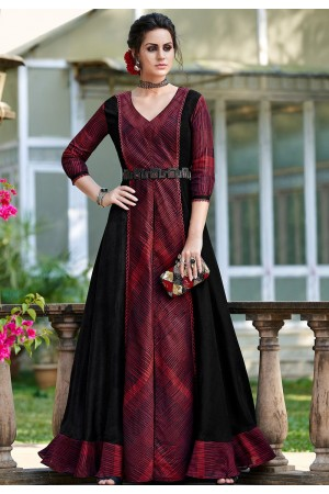 maroon shade silk digital printed long gown 9008