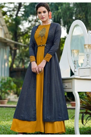 mustard silk party wear long gown 9007