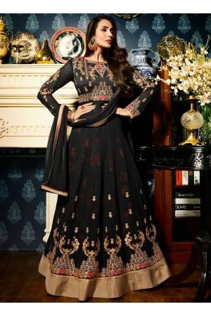 Malaika Arora khan georgette black color wedding anarkali suit