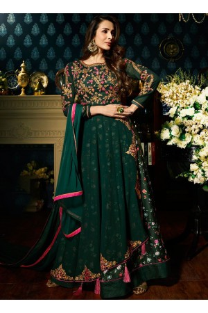 Malaika Arora khan georgette bottle green color wedding anarkali suit