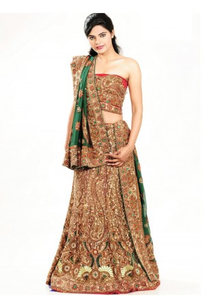 Green and red  art silk and georgette designer wedding lehenga