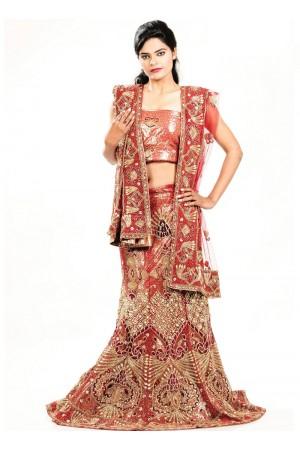Maroon color netted designer wedding lehenga