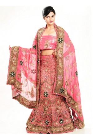 Peach color art silk and georgette designer wedding lehenga