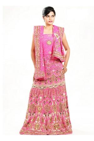 Pink crepe and art silk designer wedding lehenga