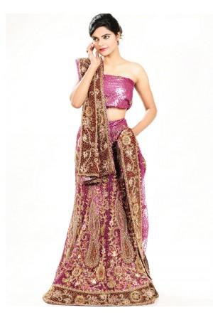 Purple net designer wedding lehenga
