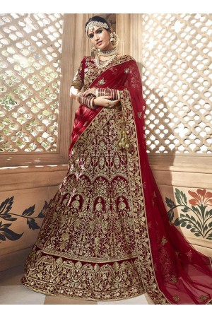 Dark maroon velvet embroidered heavy designer Indian wedding lehenga choli 4702