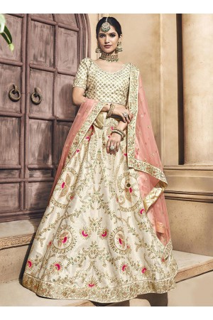 Ivory color mulberry silk embroidered heavy designer Indian wedding lehenga choli 4705