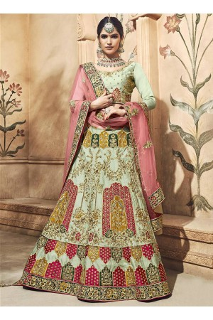 Ivory satin embroidered heavy designer Indian wedding lehenga choli 4703