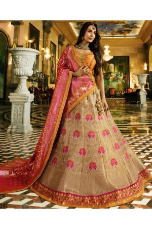 Malaika arora khan Offwhite mustard silk Indian wedding Lehenga choli 13194
