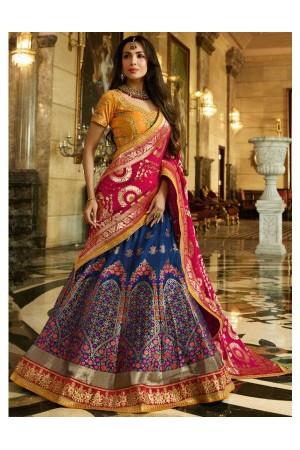 Malaika arora khan blue mustard silk Indian wedding Lehenga choli 13190