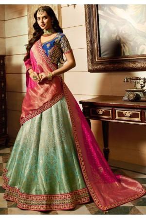 Malaika arora khan sky blue Pink silk Indian wedding Lehenga choli 13195