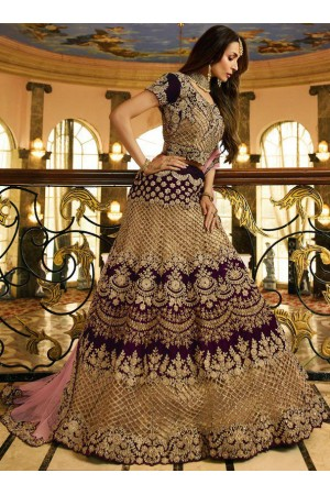 Malaika arora khan wine silk Indian wedding Lehenga choli 13200