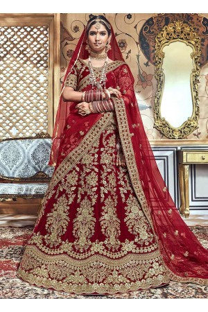 Maroon velvet embroidered heavy designer Indian wedding lehenga choli 4704