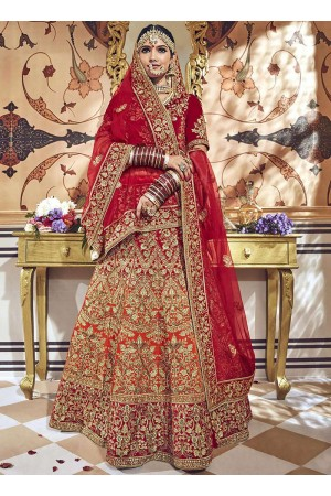 Orange red shaded velvet embroidered heavy designer Indian wedding lehenga choli 4706