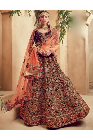 Purple color Traditional Indian heavy designer wedding lehenga choli 10004
