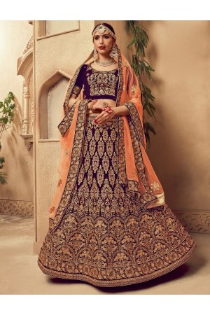 Purple color Traditional Indian heavy designer wedding lehenga choli 10006