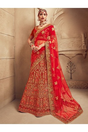 Red color Traditional Indian heavy designer wedding lehenga choli 10001