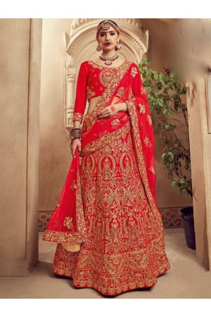 Red color Traditional Indian heavy designer wedding lehenga choli 10002