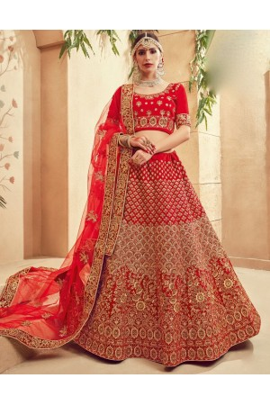 Red color Traditional Indian heavy designer wedding lehenga choli 10005