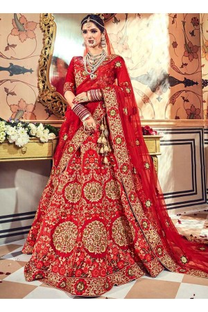 Red satin embroidered heavy designer Indian wedding lehenga choli 4708