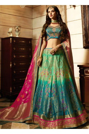 Turquoise rama green silk Indian wedding Lehenga choli 13199
