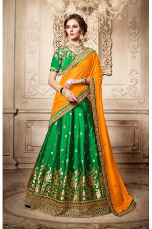 Party Wear Green Orange Lehenga 4084