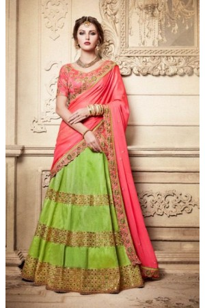 Party Wear Green Peach Lehenga 4086