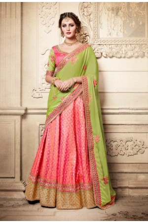 Party Wear Green Pink Lehenga 4081