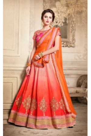Party Wear Pink Orange Lehenga 4087