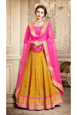 Party Wear Pink Yellow Lehenga 4089