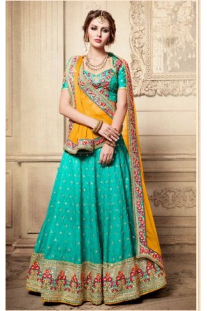 Party Wear Yellow Sea Blue Lehenga 4083