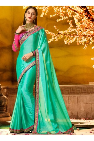 Ethnic sea green patch border work saree 1168