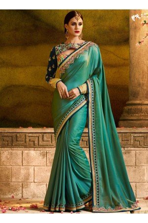 Miraculous resham work green party saree 1164