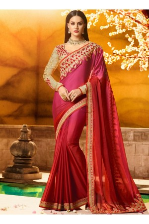Superlative red fancy fabric party saree 1161