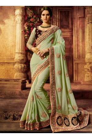 Green and wine color silk wedding wear saree