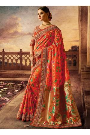 Orange color silk wedding wear saree