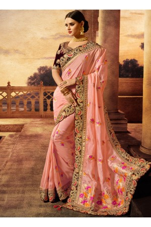 Pink color silk wedding wear saree